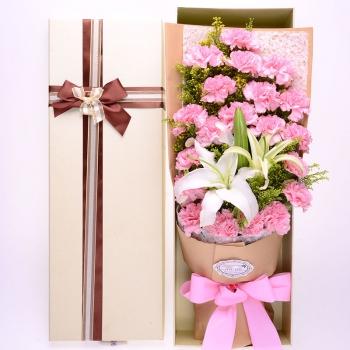 温馨祝福-19朵粉康乃馨+3朵百合鲜花礼盒