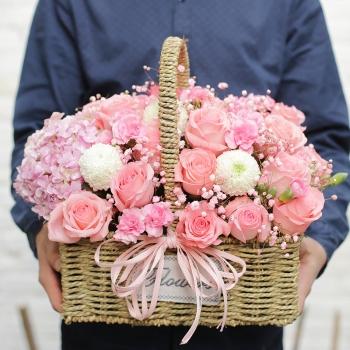 留住好时光-粉玫瑰手提花篮