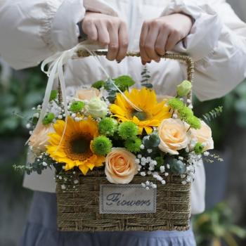 美好时光-向日葵手提花篮