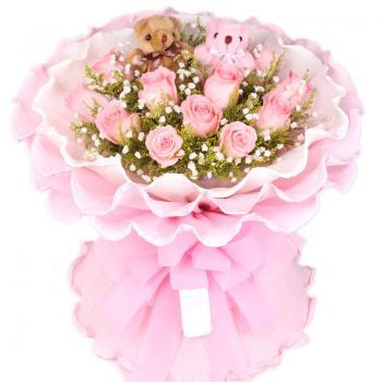 浪漫爱情 11 圆形花束 鲜花速递-全国鲜花速递服务商