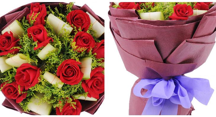 浪漫爱情 送花花材:红玫瑰 鲜花枝数:11 花材:玫瑰花,配花搭配 包装
