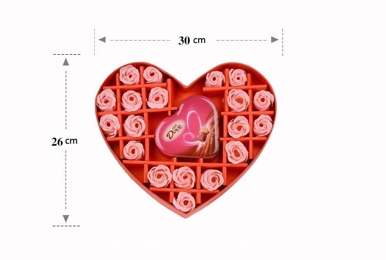 红色心型香皂花礼盒(丝带):19朵粉色香皂花+53克德芙