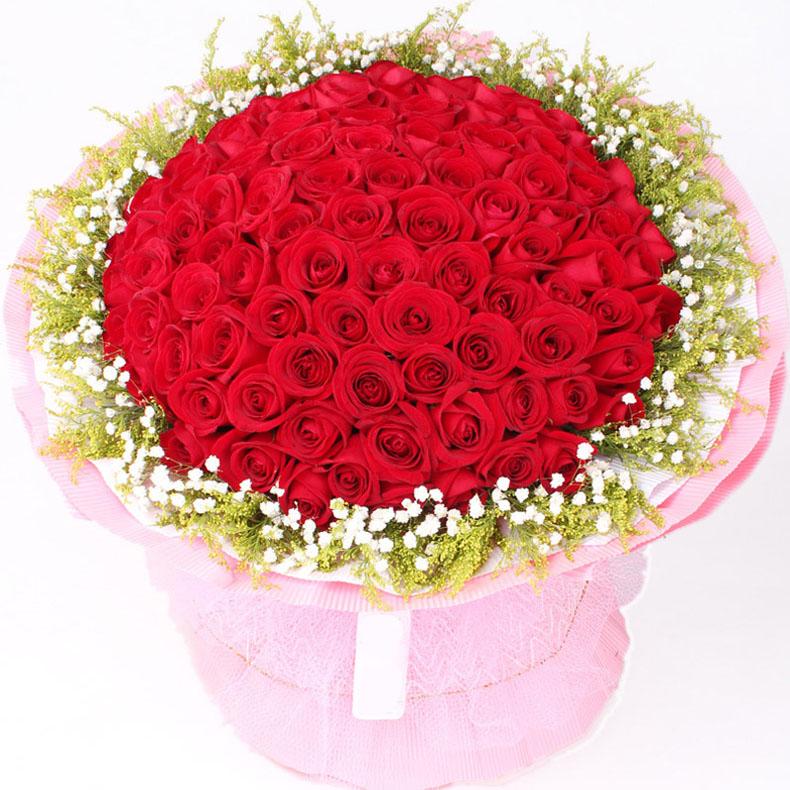 爱的印记 鲜花速递 99朵红玫瑰sn100
