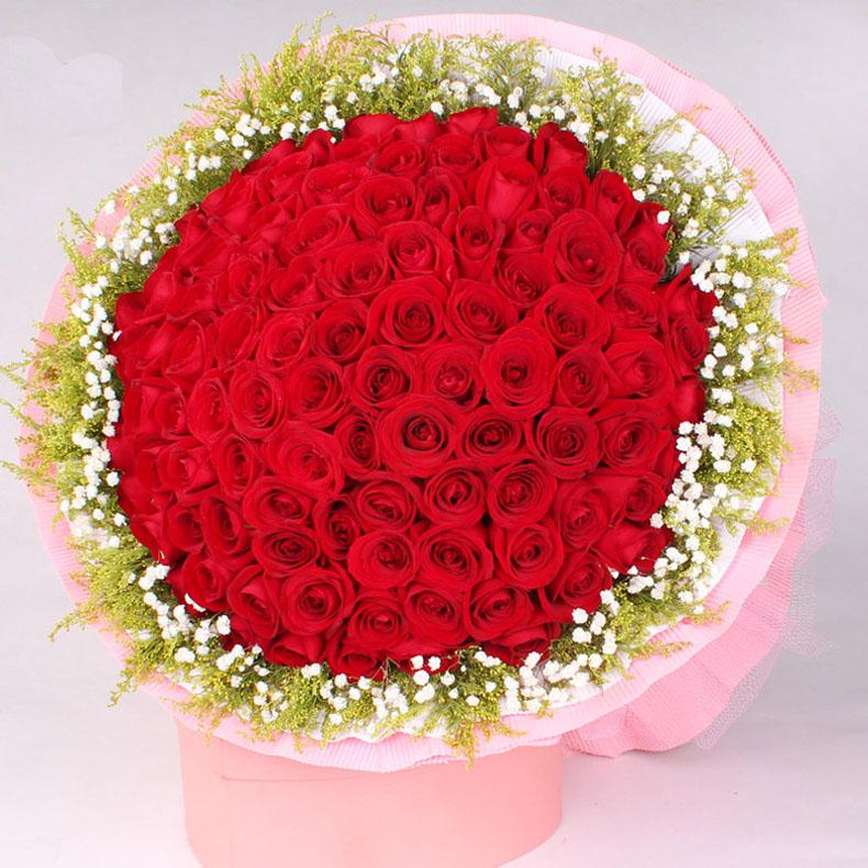 我爱你 99朵红玫瑰花束