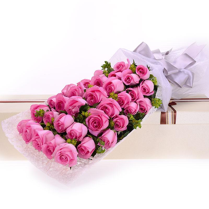 生日快乐 送花花材:粉玫瑰 鲜花枝数:33 鲜花包装:长方形礼盒 花  材