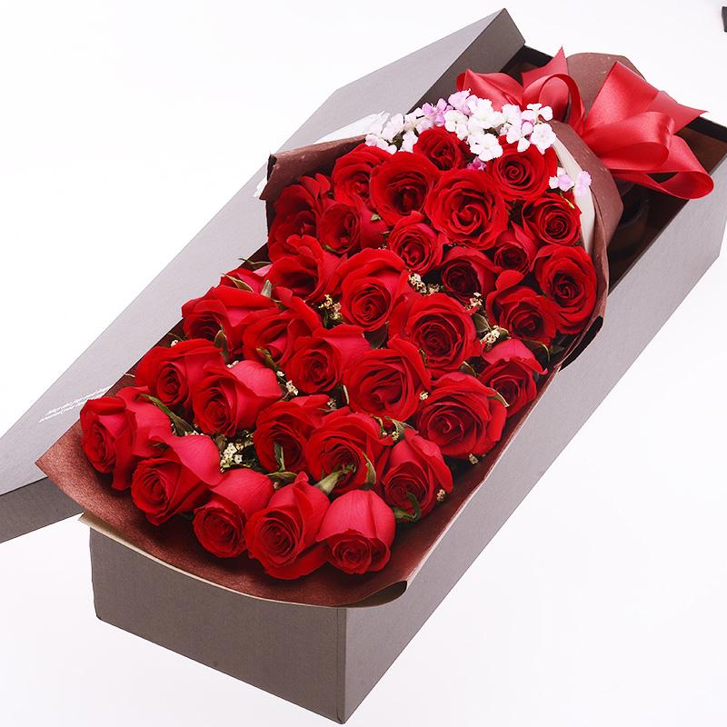 红玫瑰 鲜花枝数:33 鲜花包装:长方形礼盒 花  材:33朵红色玫瑰花