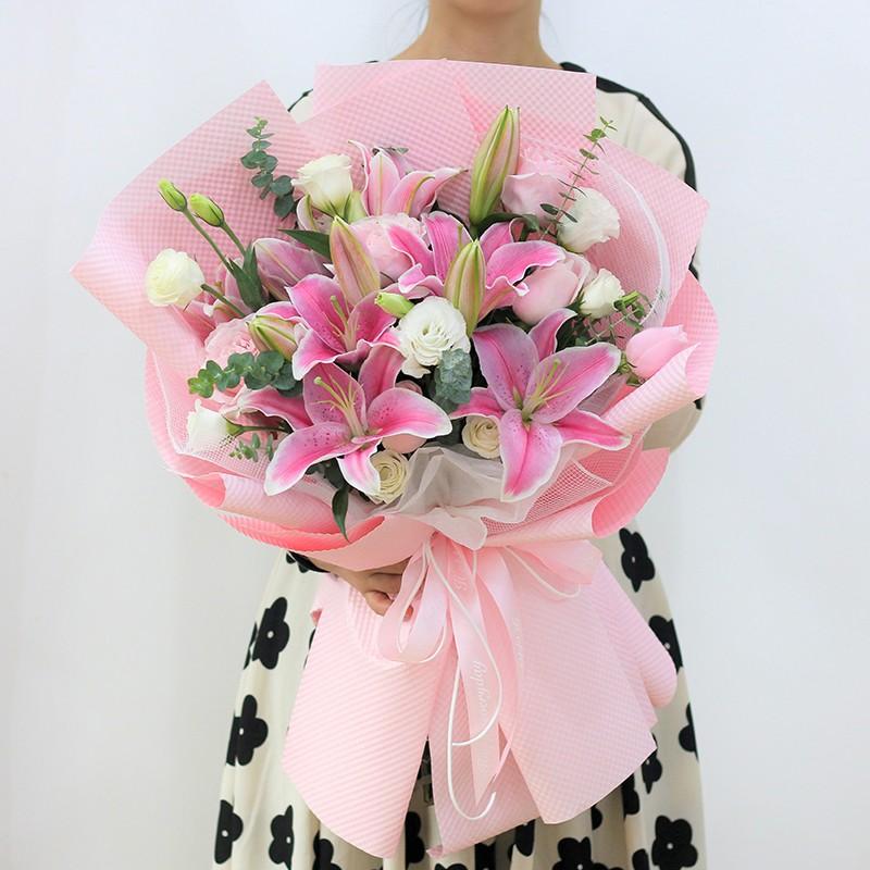 眉欢眼笑-11朵粉百合花束