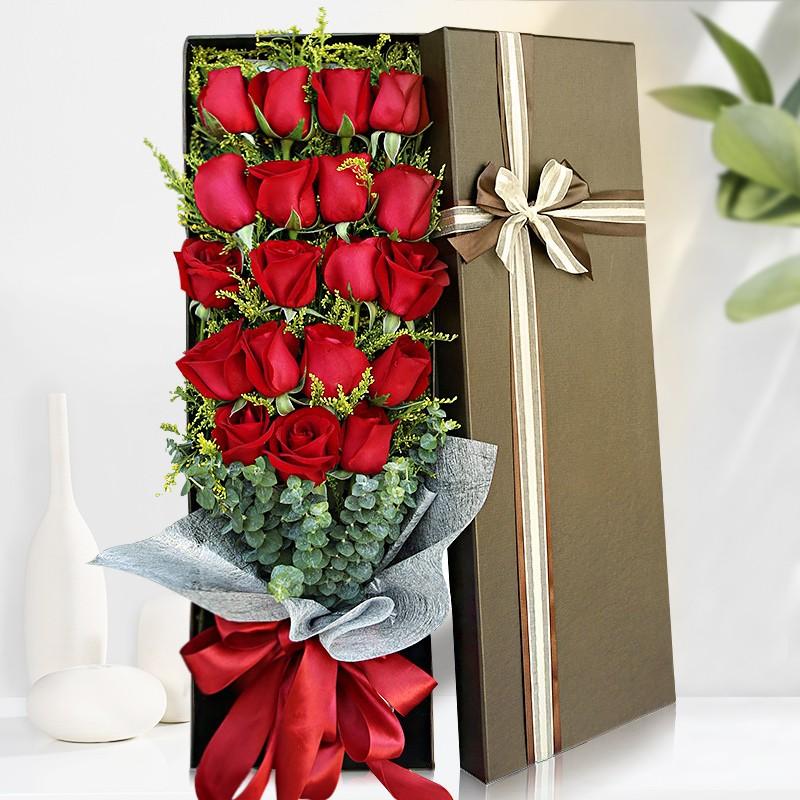 一抹朱红-19朵红玫瑰礼盒