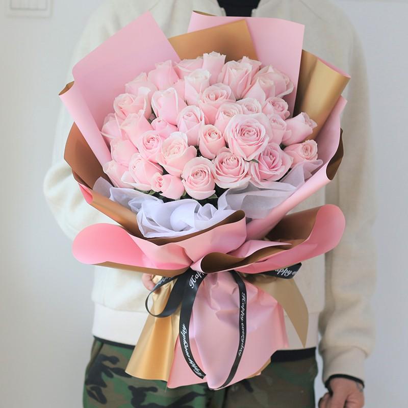 素兮饶眉-33朵粉红雪山韩式花束