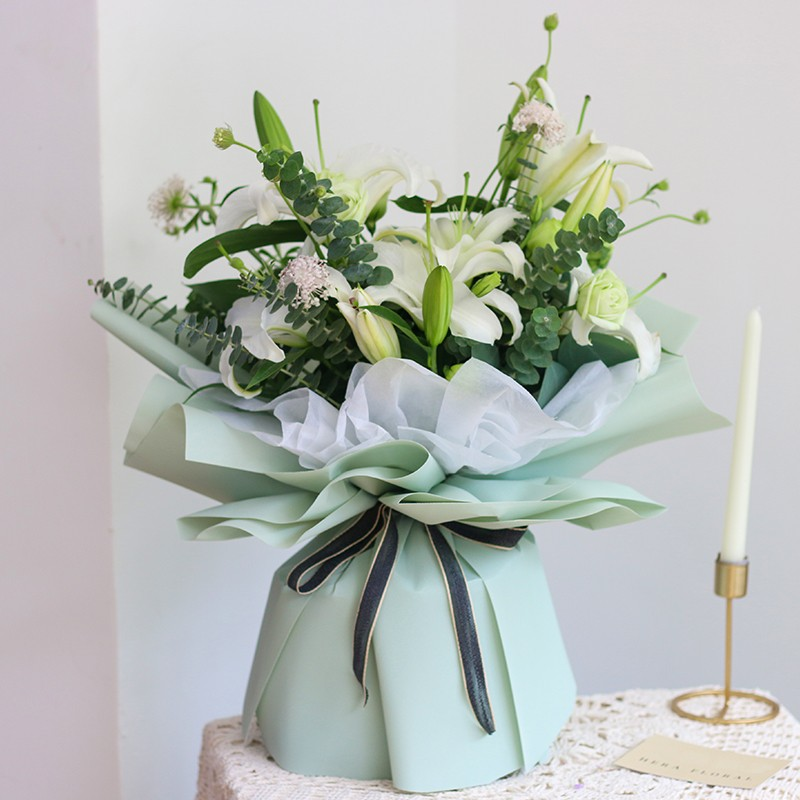 阳光心情-11朵白百合花束