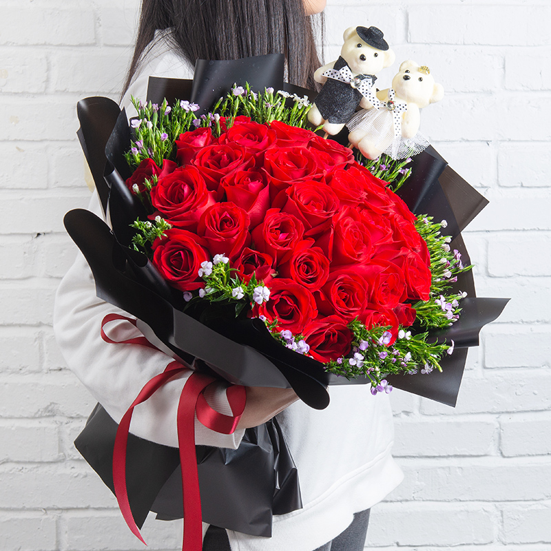 浪漫告白 33朵红玫瑰花束