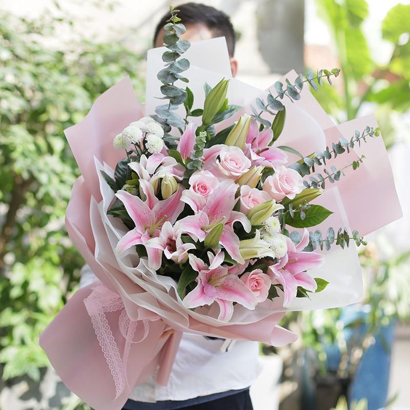粉白黛绿-13朵粉百合玫瑰花束