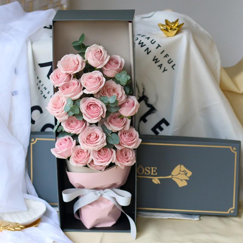 粉色恋人-19朵粉玫瑰礼盒