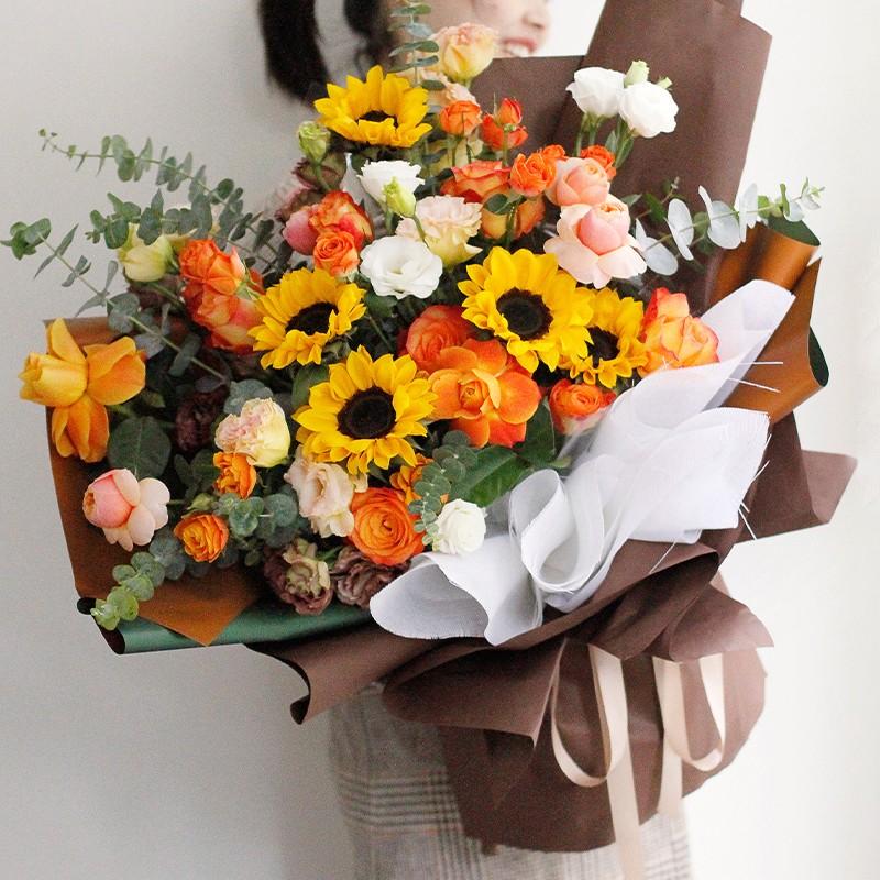 旭日东升-向日葵韩式巨型花束