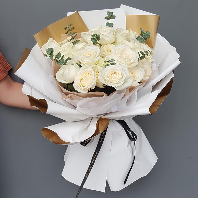 纯纯的爱恋-19朵白玫瑰花束