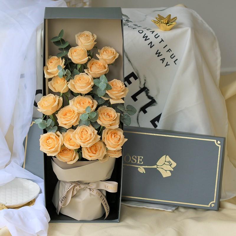 柔情似水-19朵香槟玫瑰礼盒