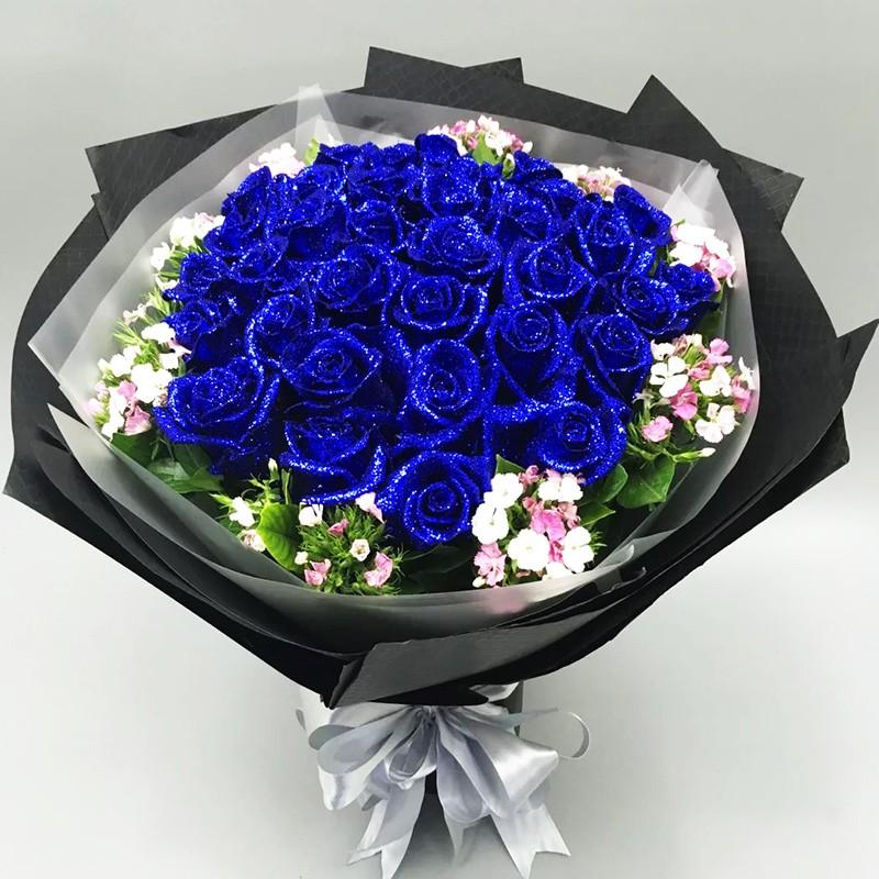蓝色爱恋-19朵蓝色妖姬花束