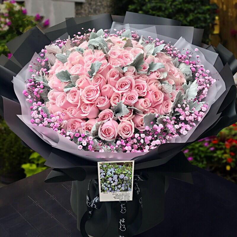 情有独钟【99枝粉玫瑰花花束】