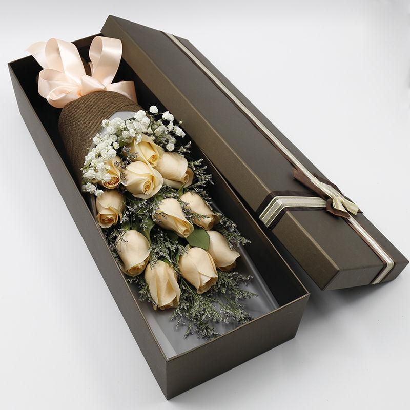 矢志不渝-11枝香槟玫瑰礼盒