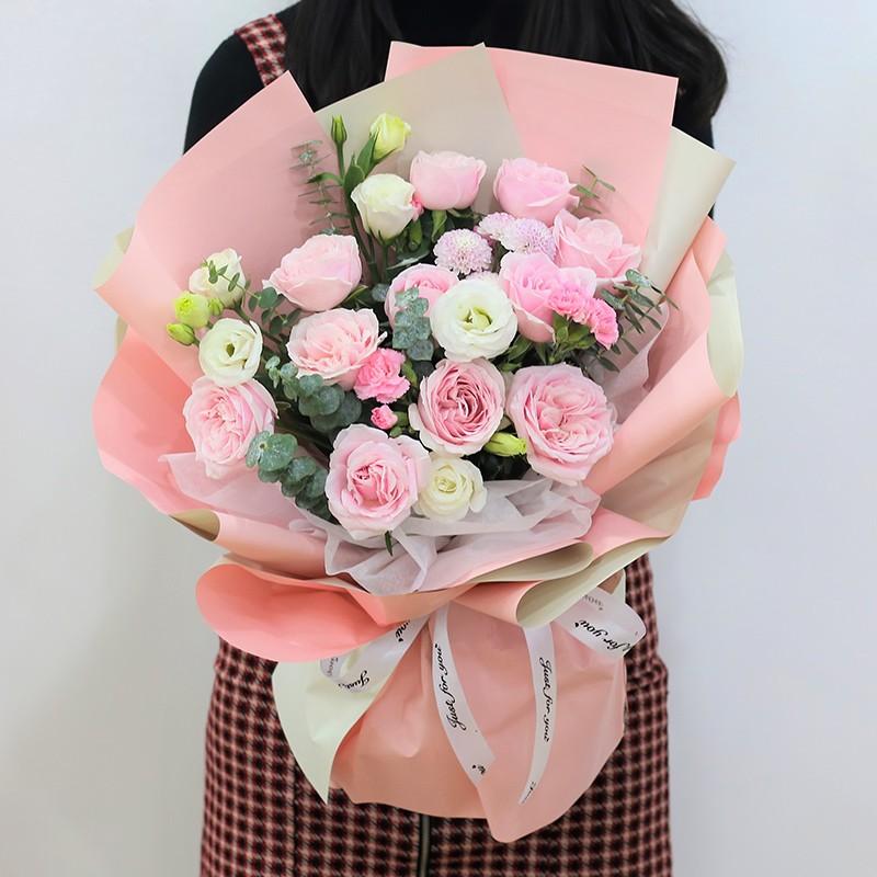 粉雪佳人-11朵粉玫瑰花束
