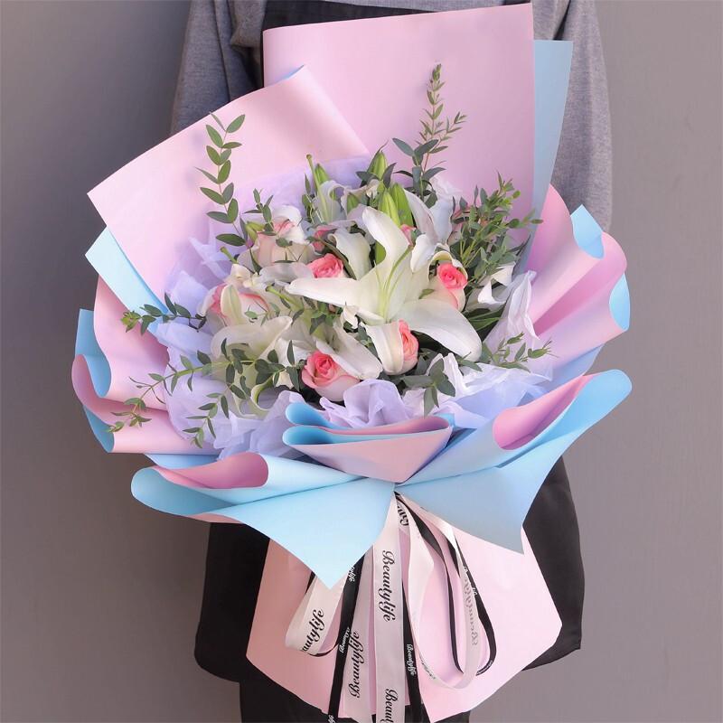 深情表白-9朵粉玫瑰多头白百合混搭花束