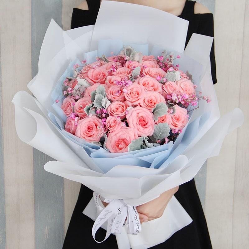 小幸运-33枝粉玫瑰花束