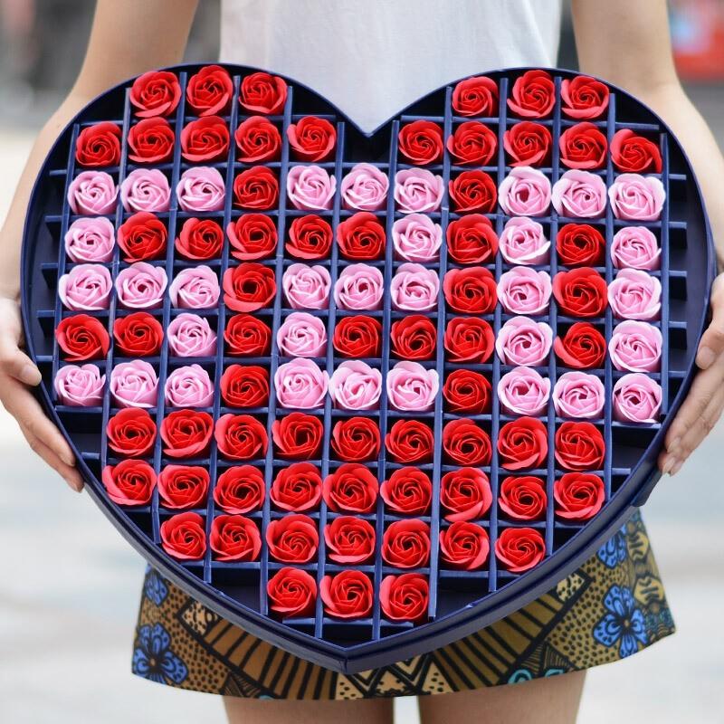 香皂花-99朵混搭香皂玫瑰花心形礼盒